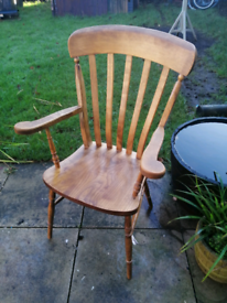 Quality English Yew Wood Slat Back Carver Chair