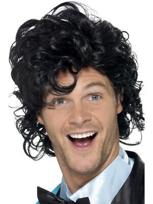 Black 80's Prom King Perm Wig Adult Mens Smiffys Fancy Dress Costume](80s Prom Costume Men)