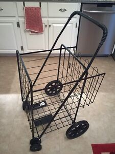 Folding grocery or laundry cart with double basket