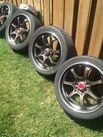 "17"" rims and tires 5 bolt universal!"