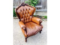 Beautiful Chesterfield leather carved ornate library armchair
