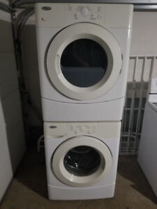 "whirlpool 27"" front load glass washer electric dryer stackable"