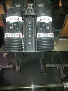 Powerblock urethane dumbells u90 for sale and stand