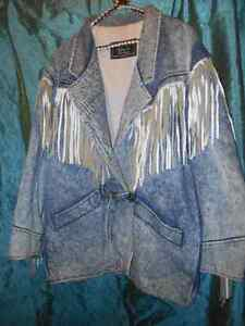 Retro 80s Denim Acid-Washed Fringe Jacket by Rumours N Gossyp
