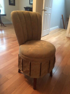 Elegant olive vanity chair with blue accents