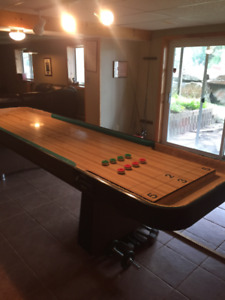 shuffle board with poker table