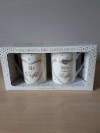 Mr & Mrs Fine China Mugs