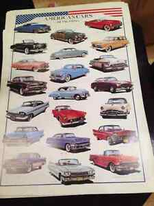 HUGE 38x27 AMERICAN CLASSIC CARS OF THE FIFTIES POSTER RARE NEW