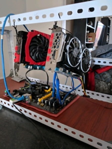 Mining rig with frame and RX580 GPU