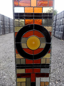 """2 STAINED GLASS PANELS 75""""X10.5"""" EACH - RECYCLED LEADED ZINC"""