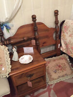 Single Bed (Headboard, footboard and rails) and Night Table