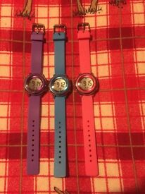 Woman watches set of 3 purple,blue,pink