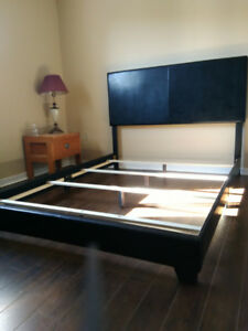 For sale - Queen size leather bed frame with leather headboard