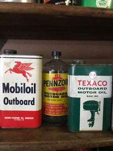 Vintage Outboard Motor Oil Cans