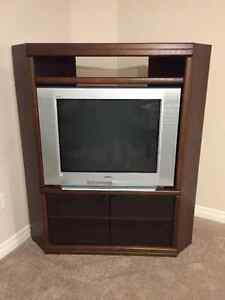 Wood Entertainment Unit with TV ($50 OBO)