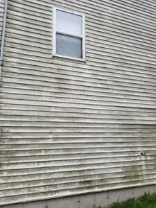Dirty Eaves Gutters Downspouts Siding & Heat Pump Cleaning