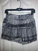 Black and white high waist shorts