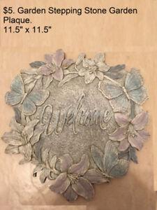"$5. Garden WELCOME Stepping Stone Garden Plaque 11.5"" x 11.5"""