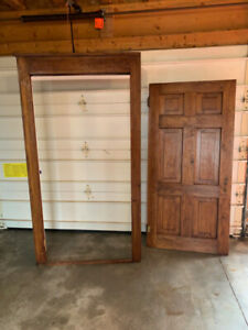 Antique / Reclaimed Solid Wood Door and Frame -used as closet