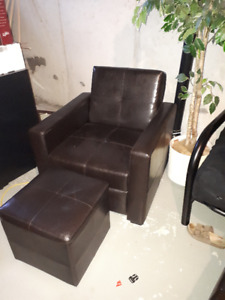 Brown-Black Leather Club Chair