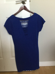 Blue Knit Summer Dress Size 10-12/ L; $10