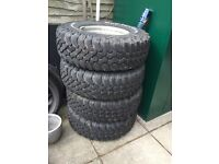 5 steel wheels fitted with BF Goodrich 4x4 Land Rover off road tyres with excellent tread