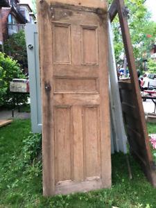 Beautiful antique vintage solid wood interior door
