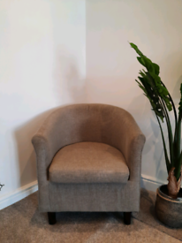 2x Mink fabric Tub armchairs