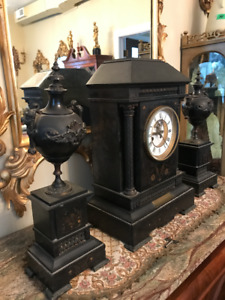 Antique Late 1800's  Slate Clock with side pieces, working!