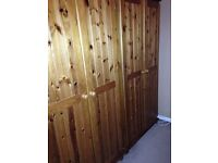 X2 pine wardrobes, double bed & bedside table £100