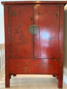 Elegant 19th century Chinese red lacquer wedding cabinet