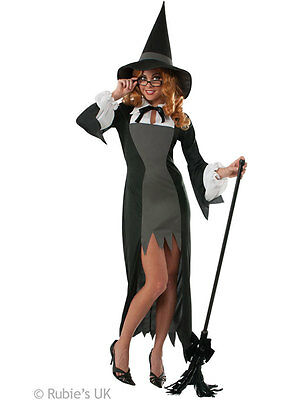Ladies Puritan Witch Adult Womens Outfit Fancy Dress Halloween Costume Sorceress