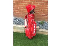 Howson golf clubs and RAM leather bag.