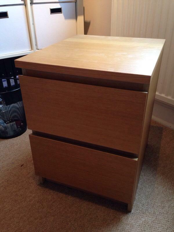 Ikea Trysil Double Bed Frame ~ Ikea oak bedside drawer cabinet  excellent condition  United Kingdom