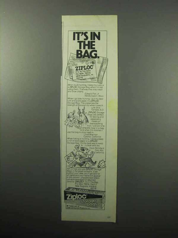1987 Ziploc Storage Bags Ad - In The Bag