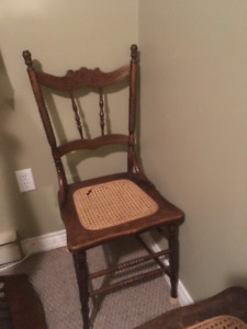 2 Pressed chairs with caned seat for sale.