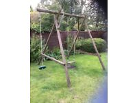 Wooden swing frame, swing seat and button