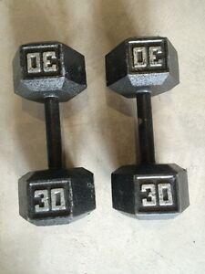 2x 30lb metal dumbbells.