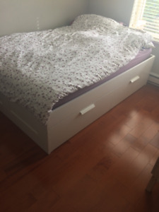 IKEA Brimnes Double Bed Frame and Mattress