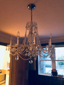 Antique Crystal and Glass Chandelier For Sale