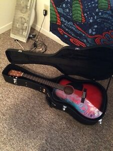 MINT fender acoustic guitar with hard shell case