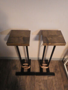 Solid Wood and Steel Speaker Stands