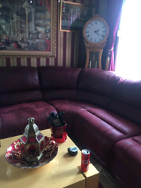 Corner suite Suede Leather sofa with 2 side recliners wine colour