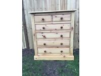 Large waxed pine chest of drawers