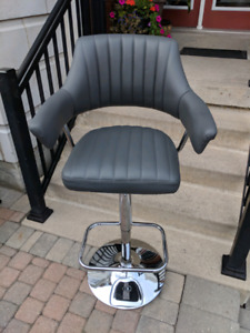 Grey leather bar stool - new