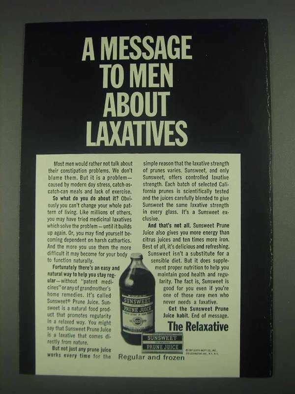 1967 Sunsweet Prune Juice Ad - A Message to Men