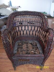 wicker chair and table, set