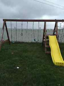 Swing set, good shape, with climber.