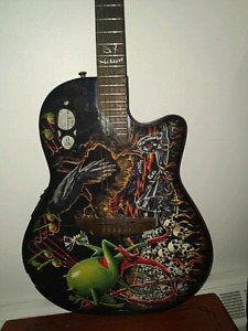 ELECTRIC ACOUSTIC GUITAR WITH GODARD PRINT