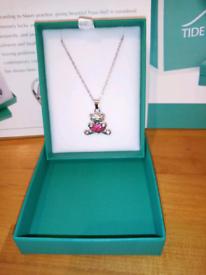 Paua shell teddy bear necklace